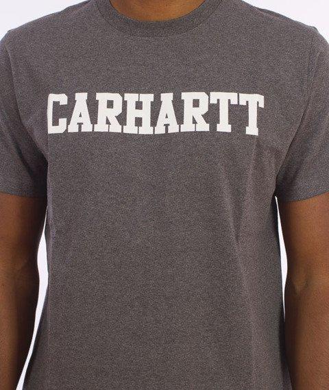 Carhartt WIP-S/S College T-Shirt Dark Grey Heather/White
