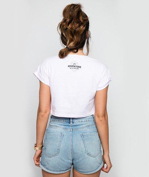 Diamante-Camera Operator Cropped T-Shirt Damski Jasny Różowy