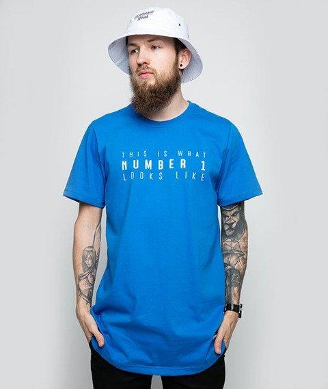Diamante-Number One T-Shirt Niebieski