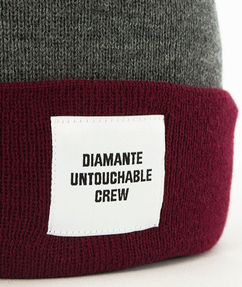 Diamante-Untouchable Crew Czapka Zimowa Zawijana Szara/Bordowa