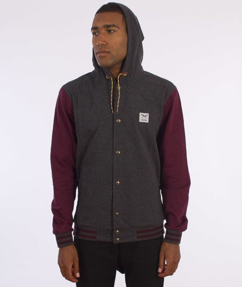 Iriedaily-Daily College Hooded Bluza Kaptur Rozpinana Anthra Red