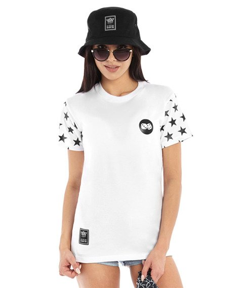 Lucky Dice-Stars T-Shirt Damski Biały