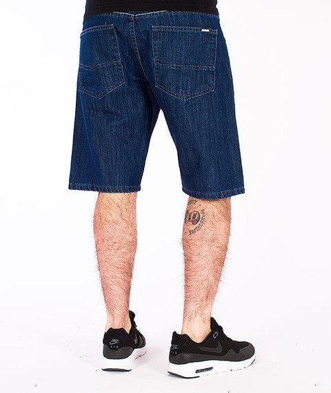 Mass-Dope Spodnie Krótkie Jeans Dark Blue