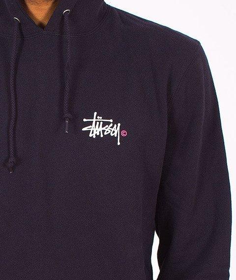 Stussy-Basic Logo Hood Navy
