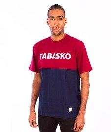 Tabasko-Panel T-Shirt Bordowo/Granatowy