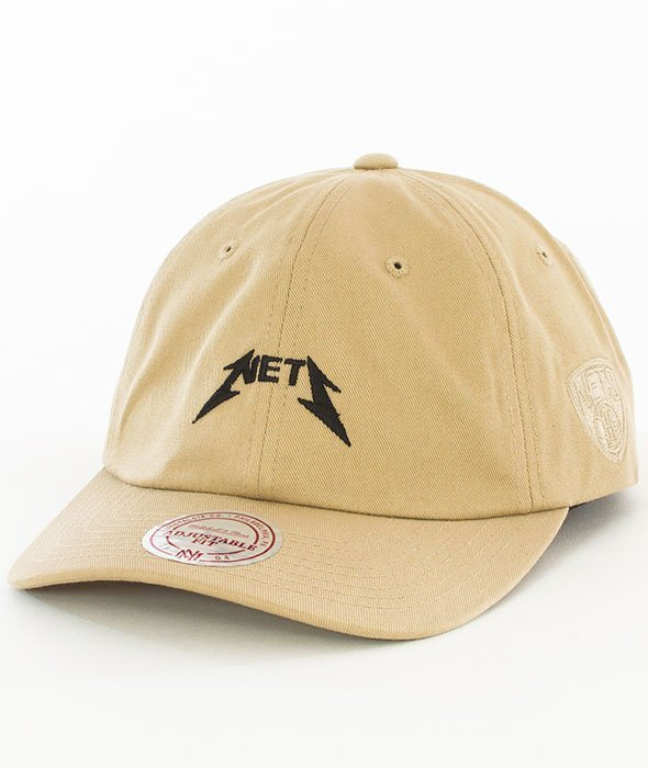Mitchell & Ness-Brooklyn Nets Rock Font Dad Hat Snapback Khaki