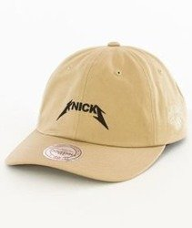 Mitchell & Ness-New York Knicks Rock Font Dad Hat Snapback Khaki