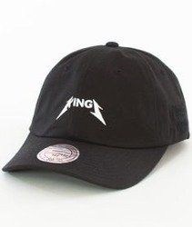 Mitchell & Ness-Sacramento Kings Rock Font Dad Hat Snapback Czarny