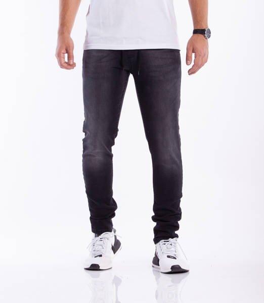 Smoke Story Jeans Stretch Skinny Guma Przecierane Black Dark