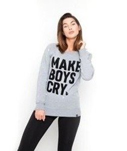 Diamante-Make Boys Cry Bluza Damska Szara
