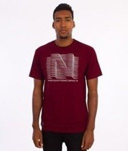 Nervous-3D Line T-Shirt Bordowy