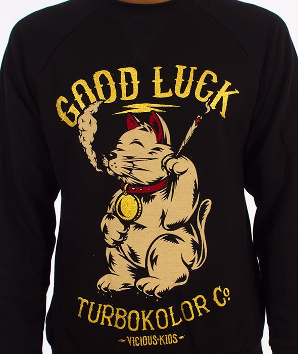 Turbokolor-Lucky Cat Crewneck Bluza Czarna