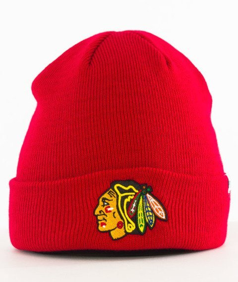 47 Brand-Chicago Blackhawks Cuff Knit Czapka Zimowa Czerwona