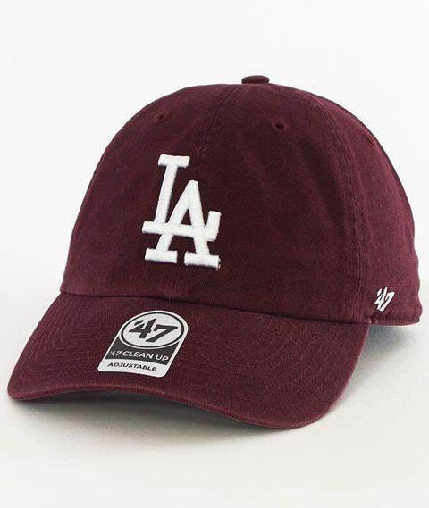 47 Brand-Clean Up Los Angeles Dodgers Czapka z Daszkiem Bordowa