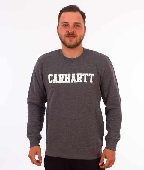 Carhartt-College Sweatshirt Dark Grey Heather/White