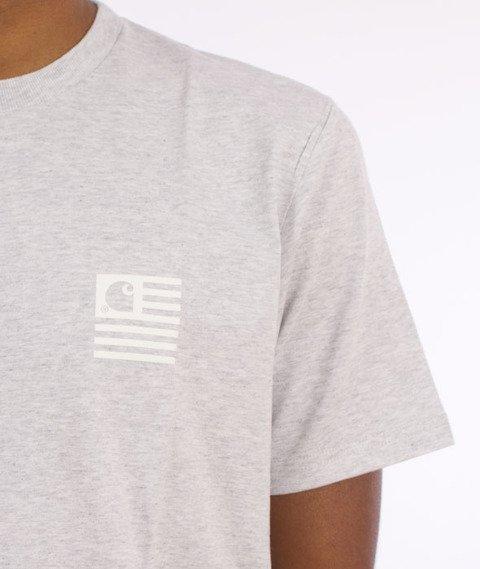 Carhartt-State Logo T-Shirt Cotton Ash Heather/ White