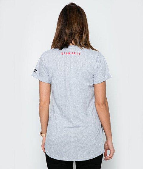 Diamante-Born Smoker T-Shirt Damski Szaro-Czerwony
