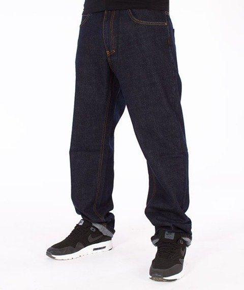 El Polako-Cut Slim Jeans Spodnie Dark Blue