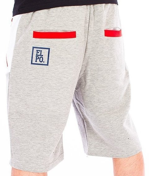 El Polako-Half Colour Spodnie Krótkie Dresowe Szare/Białe