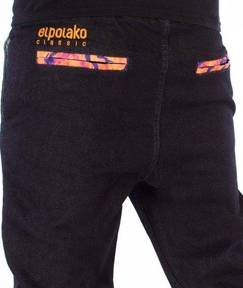El Polako-Orange Camo Slim Jogger Jeans Spodnie Dark Blue
