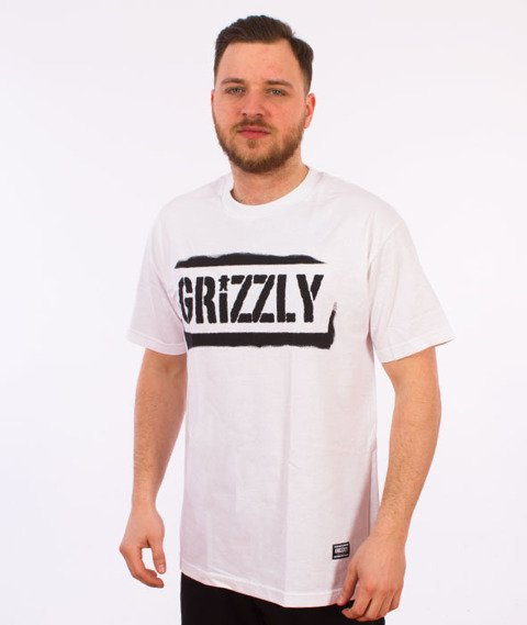 Grizzly-Stencil Stamp T-Shirt White
