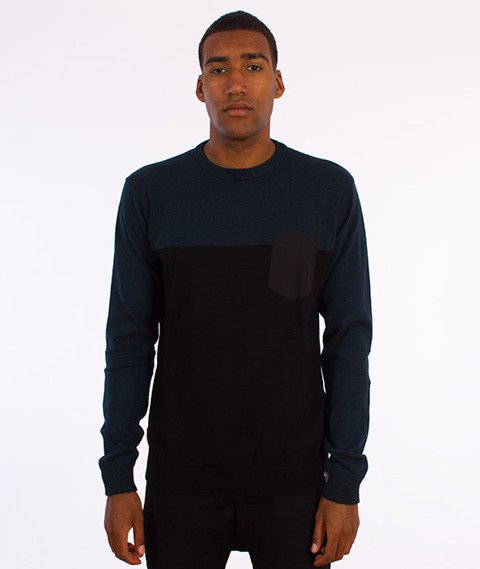 Iriedaily-BlockFlag Crew Knit Sweter Deep Lake