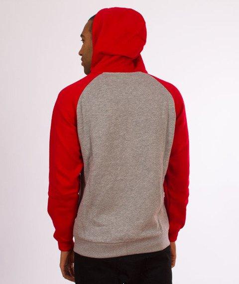 Iriedaily-Sweter De College Zip Hood Bluza Kaptur Rozpinana Red Melange