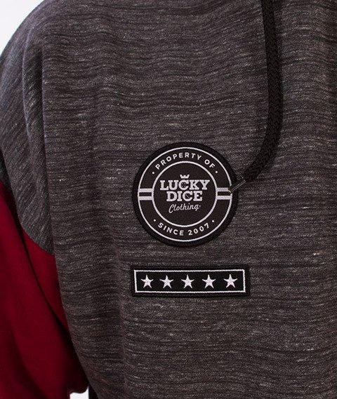 Lucky Dice-Emblems Hoodie Bluza Kaptur Szara/Bordo