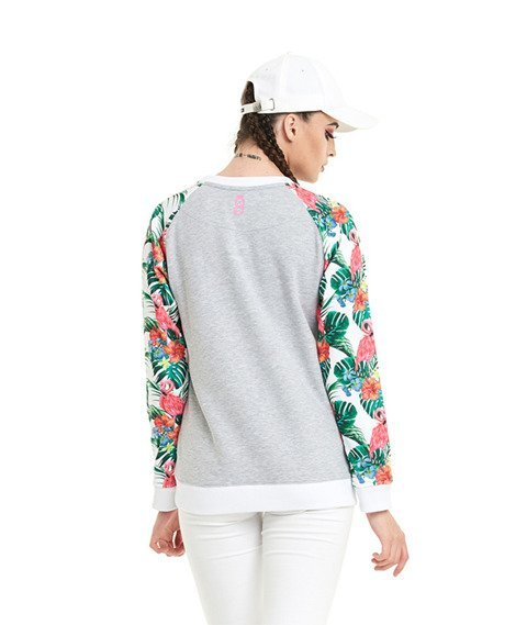 Lucky Dice-Flowers Raglan Bluza Damska Szara