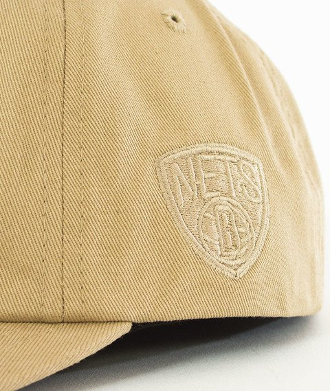 Mitchell & Ness-Brooklyn Nets Rock Font Dad Hat Snapback Khaki