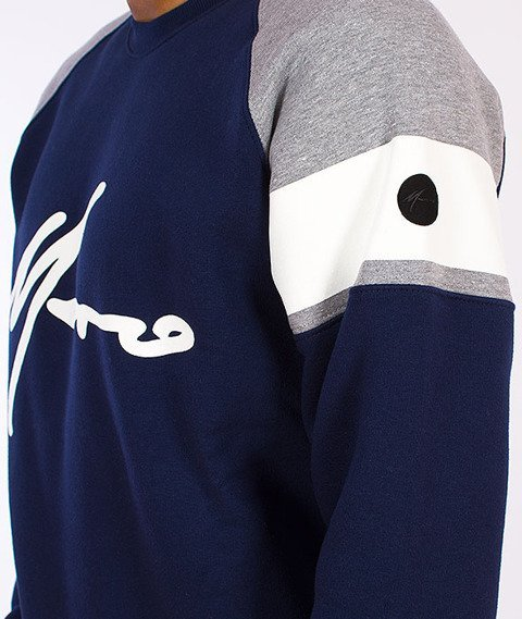 Moro Sport-Stripe Bluza Klasyczna Granatowa/Melanż