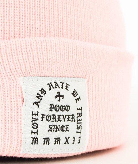 POGO-Love Hate Pink Beanie Czapka Zimowa Różowa