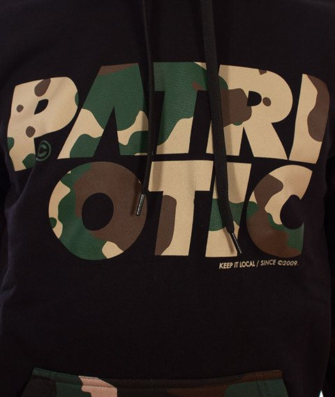 Patriotic-CLS Camo Bluza Kaptur Czarna/Woodland Camo
