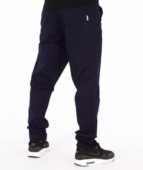 SmokeStory-Jeans Stretch Straight Fit Guzik Spodnie Granatowe