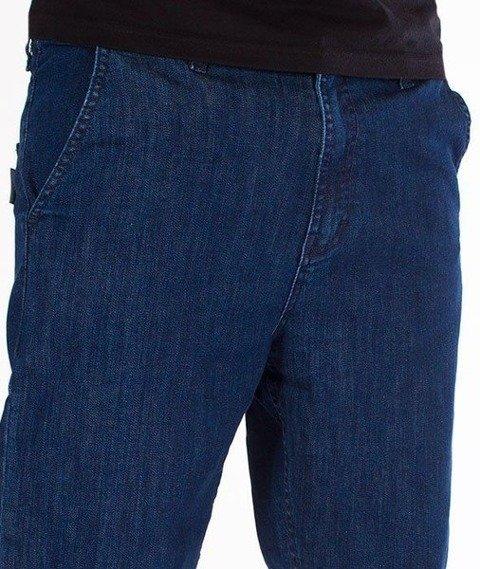 SmokeStory-Jeans Stretch Straight Fit Guzik Spodnie Medium Blue