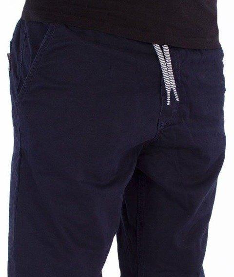 SmokeStory-Jeans Stretch Straight Fit z Gumą Spodnie Granatowe