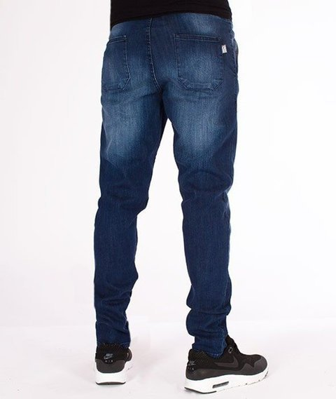 SmokeStory-Jeansy Stretch Straight Fit Guma Medium Cieniowane