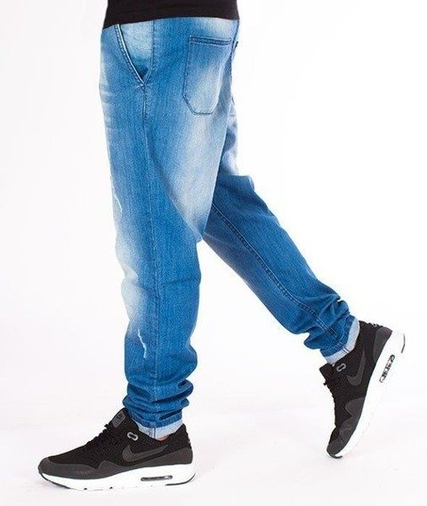 SmokeStory-Jeansy Stretch Straight Fit Premium Guma Light z Przetarciami