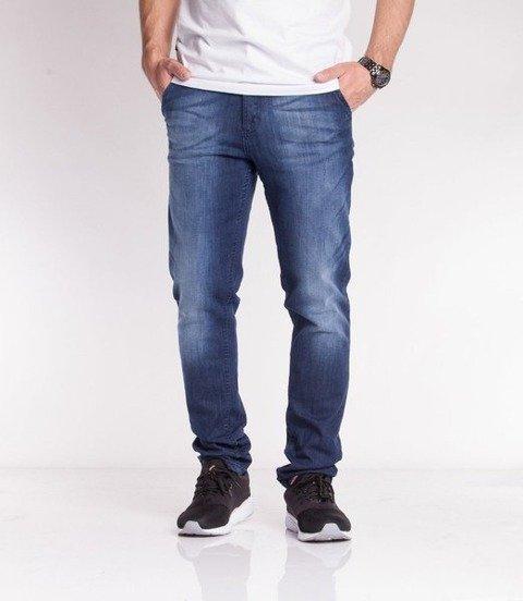 SmokeStory-Jeansy Stretch Straight Fit Premium Guzik Spodnie Dark Cieniowane