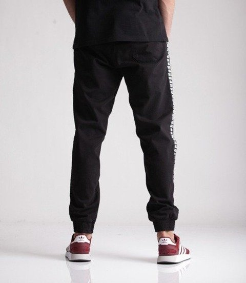 SmokeStory-Jogger Biały Lampas Slim Tkaninowe Spodnie Czarne
