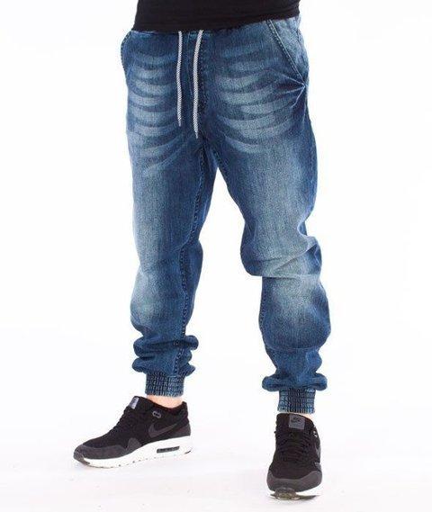 SmokeStory-Jogger Premium Slim Jeans Guma Spodnie Medium Blue Cieniowane