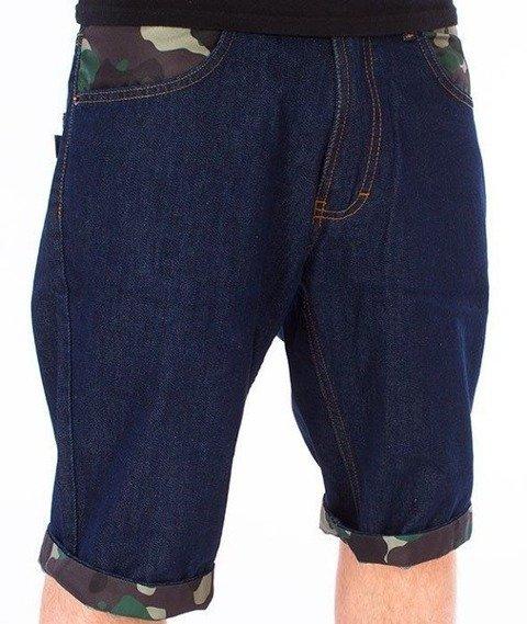 SmokeStory-Moro Wstawki Szorty Jeans Spodnie Krótkie Wycierane Dark Blue