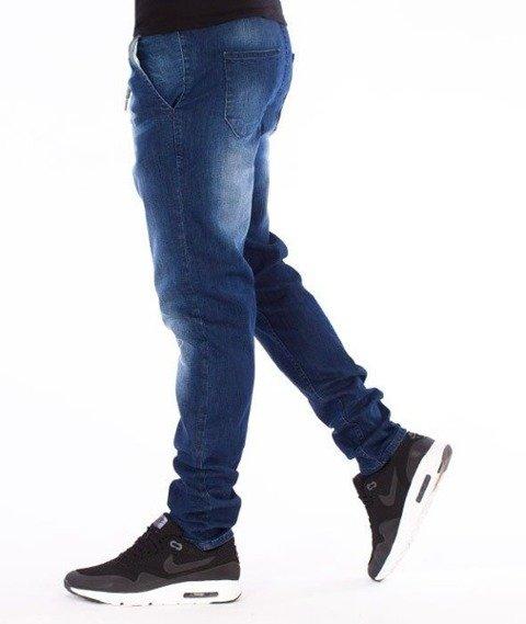 SmokeStory-Premium Stretch Straight Fit z Gumą Spodnie Dark z Przetarciami