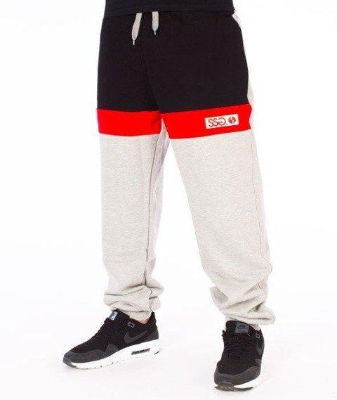 SmokeStory-Premium Triple Colors Spodnie Dresowe Szare