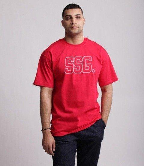SmokeStory-SSG New Outline T-Shirt Czerwony