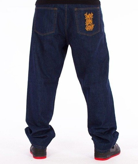 SmokeStory-Smoke Tag Baggy Jeans Dark Blue
