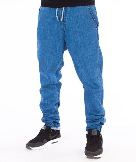 SmokeStory-Straight Fit Guma Spodnie Light Blue