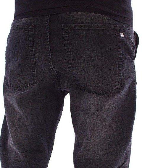 SmokeStory-Stretch Skinny Jeans Guma Spodnie Czarny Przecierany