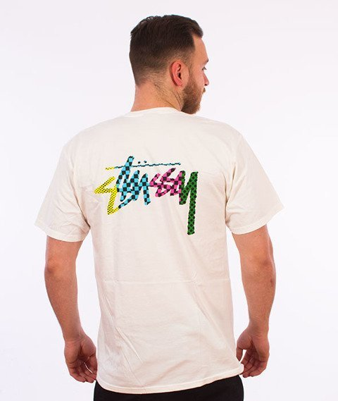 Stussy-Checker Stock Pig. Dyed T-Shirt Natural