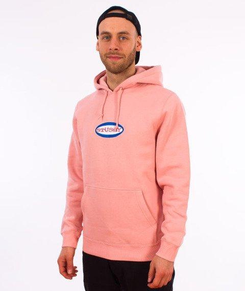 Stussy-Oval Logo Hood Bluza Kaptur Dusty Rose